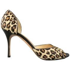 MANOLO BLAHNIK Size 10.5 Leopard Pony Hair Peep Toe D'Orsay Pumps | From a collection of rare vintage heels at https://www.1stdibs.com/fashion/clothing/shoes/heels/