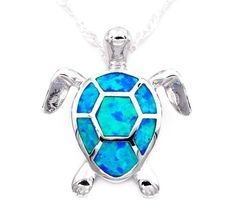 Blue Opal Turtle Necklace