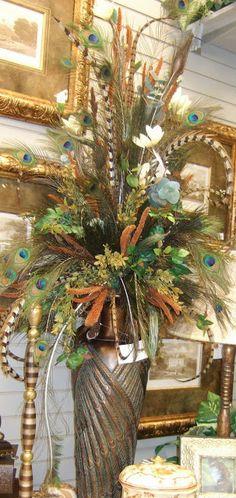 …Artificial Silk flower Arrangement with Feather!…Artificial Silk flower Arrangement with Feather! Artificial Floral Arrangements, Dried Flower Arrangements, Fall Arrangements, Artificial Silk Flowers, Artificial Plants, Dried Flowers, Lace Flowers, Wedding Flowers, Arte Floral