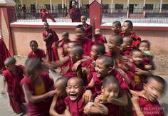 Speedy Buddhas #india #sera #travel #people #festival #puja #blessings #monastery #monks #crowd #robes #tibetansinexile #happy #smile #schoiolchildren