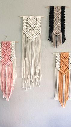 I love a good monochromatic feed as much as the next person BUT I also love color! Available in several hand dyed colors! Pink, mustard yellow, black, nude, and natural! Macrame Plant Hanger Patterns, Macrame Wall Hanging Patterns, Macrame Plant Hangers, Macrame Patterns, Macrame Cord, Macrame Knots, Micro Macramé, Creation Deco, Macrame Design
