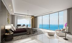 Living room at the Estates at Acqualina. Rendering courtesy of the Trump Group.  World-renowned fashion designerKarl Lagerfeld is debuting an international hospitality...