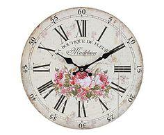 IL VIALE DELLE ROSE: Orologio da parete in legno Madeleine - D34 cm