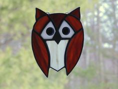 Stained glass owl suncatcher brown owl home #stainedglass #owl #suncatcher #handmade #etsy  by DesignsStainedGlass