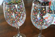 DIY Hand Painted Wine Glasses. Preheat oven to 350 degrees with the glasses inside, then bake them at 350 degrees for 30 minutes. After 30 minutes, turn the oven off and leave them inside until completely cool. The paint should then be baked on and top rack dishwasher safe, but I would still recommend hand washing.