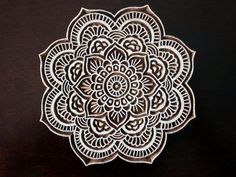 Hand Carved Indian Wood Textile Stamp Block by charancreations #mandala #pattern #doodle