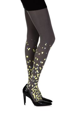 "Shop for #lingerie : Tights Womens Hosiery Zohara ""Queen Of Hearts""? Grey (Grey/Yellow) UK STOCK + F by weeabootique."