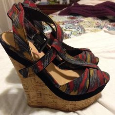 Colorful Wedge Sandals Shoes are made of fabric and suede. Beautiful beautiful shoes. 4 - 41/2 inches high. Worn once. In brand new condition. Box isn't available. Can fit US Size 8.5/ Eur 39 JustFab Shoes Sandals