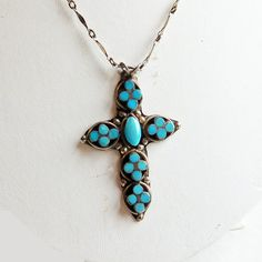 Vintage Sterling Silver and Turquoise Cross on 20 by vintagedazzle