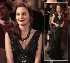 Blair's black beaded v-neck gown on Gossip Girl Elie Saab