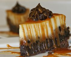 {Chocolate Explosion Cheesecake with Caramel Shots}