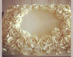 Buttercream rose sheet cake So pretty! Wedding Sheet Cakes, Birthday Sheet Cakes, Baptism Sheet Cake, Cake Birthday, Cupcakes, Cupcake Cakes, Sheet Cakes Decorated, Sheet Cake Designs, Rose Cake