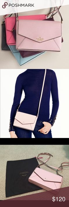 NWOT Kate Spade Bag Kate Spade Envelope Bag. Pale pink color. Perfect for spring/ summer. Small but fits all the essentials- cards, lipstick, phone, money, gum, and more!! No flaws or stains. Brand new! Comes with dust bag. Purchased from Nordstrom. kate spade Bags Crossbody Bags