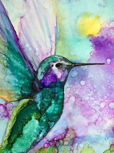 Alcohol Ink Tiles, Alcohol Ink Crafts, Alcohol Ink Painting, Alcohol Inks, Alchemy Art, Hummingbird Art, Cross Stitch Art, Animal Paintings, Ink Paintings