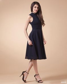 lace bridesmaid dresses Chiffon Pleated High Neck Knee Length Dress $102.98