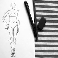 Female back pose fashion drawing lesson Dress Design Sketches, Fashion Design Drawings, Fashion Sketches, Fashion Sketch Template, Fashion Design Classes, Fashion Figures, Drawing Lessons, Fashion Illustrations, Designs To Draw