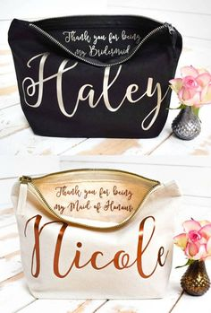 Bridesmaid Thank You Gift - Personalised Bridesmaid Gift Make Up Bag - Maid of Honor Gift - Bridal Party Gift - Personalized Cosmetic Bag #bride #tahnkyougift #ad #bridesmaids