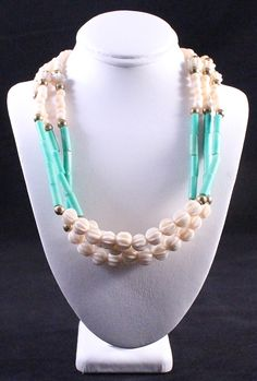 Vintage Carved Bone Beaded Triple Strand Tribal Necklace by paststore on Etsy
