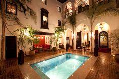 riad a marrakech Riad Marrakech, Destin Hotels, Moroccan Interiors, Courtyard House, Restaurant Interior Design, Top Hotels, Backyard Patio, Vacation Trips, Decoration