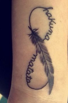 """New wrist tattoo, infinity sign with the words """"hakuna matata"""" (no worries) running through it and a feather in the middle :)"""