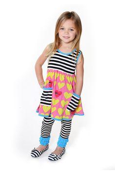 Winking Heart Graphic Tyler Dress & Eyelash Legging Set (Baby, Toddler, Little Girls, & Big Girls)
