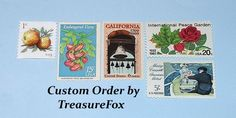 Reserved Custom Order for Sarah. Unused Vintage US Postage Stamps for mailing Save the Dates. by TreasureFox on Etsy