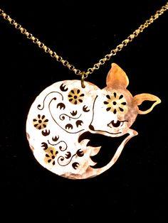 Fox / Little Floral Fox Necklace / Pendant / Woodland Baby Fox. via Etsy.