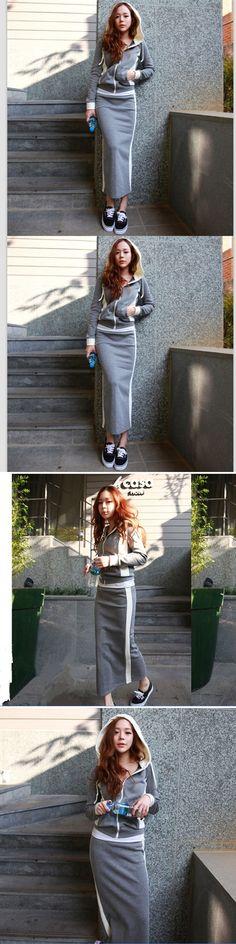 Women 2 Piece Set Casual Zipper Hoodies+Skirts Sets 2016 Autumn Winter Woman Long Hip Skirt Suit FS0136