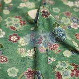 Tissus Japonais vintage fleuri fond vert