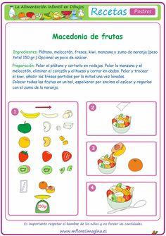 La alimentación infantil en dibujos: Postres Spanish Food, Spanish Language, Cooking With Kids, Diet Recipes, Teaching, Activities, Google, Ideas, Teaching Supplies