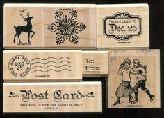 Stampin Up WINTER POST Skating Snowflake Reindeer Post Card Tags WM Rubber Stamp #StampinUp