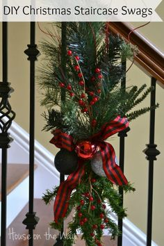 Christmas Staircase Swags ~ House on the Way