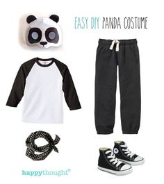 Easy, fun DIY panda costume with happythought printable panda mask! http://happythought.co.uk/craft/animal-costume-ideas