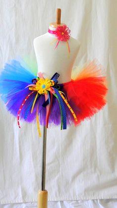 Rainbow Clown Tutu Costume Set  Girls by louloututu on Etsy, $64.95