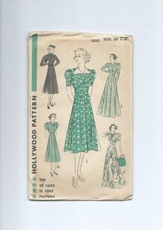 Vintage 1930s Misses' Women's Coat Frock, House Coat or Beach Coat Hollywood Pattern 1333 by lavenderskye on Etsy