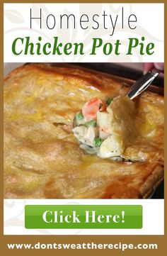 - This chicken pot pie is to DIE for! It's elegant enough for dinner ...