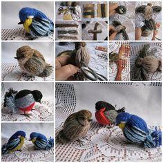 Handmade Yarn Feather and Birds, SO PRETTY !  Check directions--> http://wonderfuldiy.com/wonderful-diy-handmade-yarn-feather-and-bird/