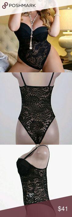 Plus size lingerie 5 x Black lace Bridal Teddy sexy wedding lingerie  push-up cup 64480df48