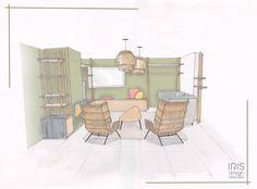 Interieur kaki, la couleur dans l'air du temps! Pour rendre ce salon plus chaleureux, les murs ont été recouvert d'un vert kaki. De plus deux fauteuils en rotin viennent rendre cet intérieur encore plus agréable. www.iris-design.fr