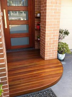 Decking Ideas by CSG Constructions Timber Front Door, Front Door Steps, Front Door Entryway, Timber Deck, Front Porch Deck, Front Porch Design, Deck Design, House Front, Decking Ideas