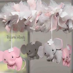 Items similar to elephant mobile - baby mobile - custom mobile (not ready made) - ships in weeks on etsy Deco Elephant, Elephant Theme, Elephant Ring, Pink Elephant Nursery, Elephant Baby Showers, The Babys, Baby Crafts, Felt Crafts, Diy And Crafts