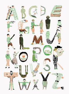 """Alphabet Design is made by John Broadley from the UK and is one page of the book """"Alphabets"""" published by the french Illustrator duo L'articho (Yassine and Chamo) Typography Alphabet, Typography Fonts, Typography Design, Hand Lettering, Alphabet Drawing, Alphabet Art, Letter Art, Alphabet Soup, Art Mots"""
