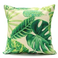 Pillow Sham Green Leaf Cotton Linen Cushion Pillow Cover Waist Throw Case Home Bed Beauty Comfortable Pillowcases