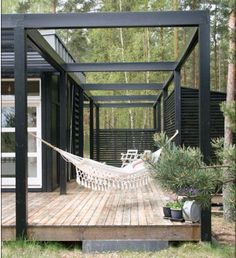 Black modern pergola and hammock