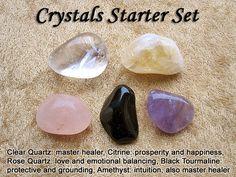 Crystal Healing Starter Set - Clear Quartz, Citrine, Rose Quartz, Black Tourmaline, Amethyst