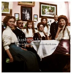 Visiting Ania by AlixofHesse on DeviantArt Empress Alexandra Feodorovna of Russia with her daughters Grand Duchesses Olga, Tatiana, Maria & Anastasia during visit in Ania Vyrubova's house.