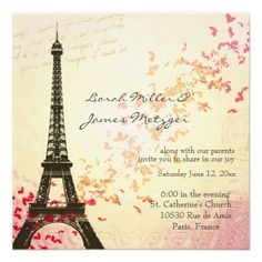 sweet 16 paris theme | paris themed wedding invitation repinned from parisian themed wedding ...