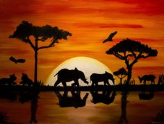 African Sunset, Oil Paints, by Nikki Rose African Drawings, African Art Paintings, Acrilic Paintings, Simple Acrylic Paintings, Africa Painting, African Sunset, Canvas Painting Tutorials, Silhouette Painting, Elephant Art