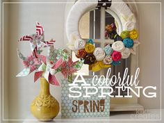 Pinwheels in a vase! Love this idea for spring Decor.