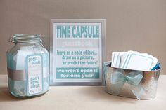 """Such a cute idea! """"Guest Book"""" Have guests leave message in a bottle (rather than time capsule--don't want to wait a year) and then take those cards and incorporate with the mini-wedding card album into one big card/guest book entry keepsake. Cute Wedding Ideas, Diy Wedding, Wedding Reception, Dream Wedding, Wedding Inspiration, Wedding Stuff, Reception Ideas, Wedding Dreams, Wedding Burlap"""